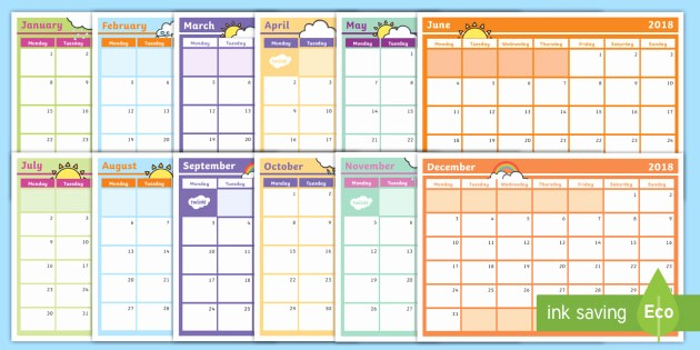 2018 Four Month Calendar Template New 2018 Monthly Calendar Planning Template Monthly Calendar