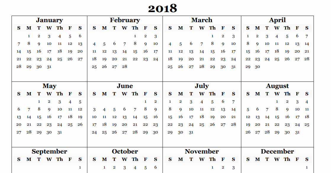 2018 Four Month Calendar Template New 2018 Yearly Calendar Template Excel Year 2018 Calendar