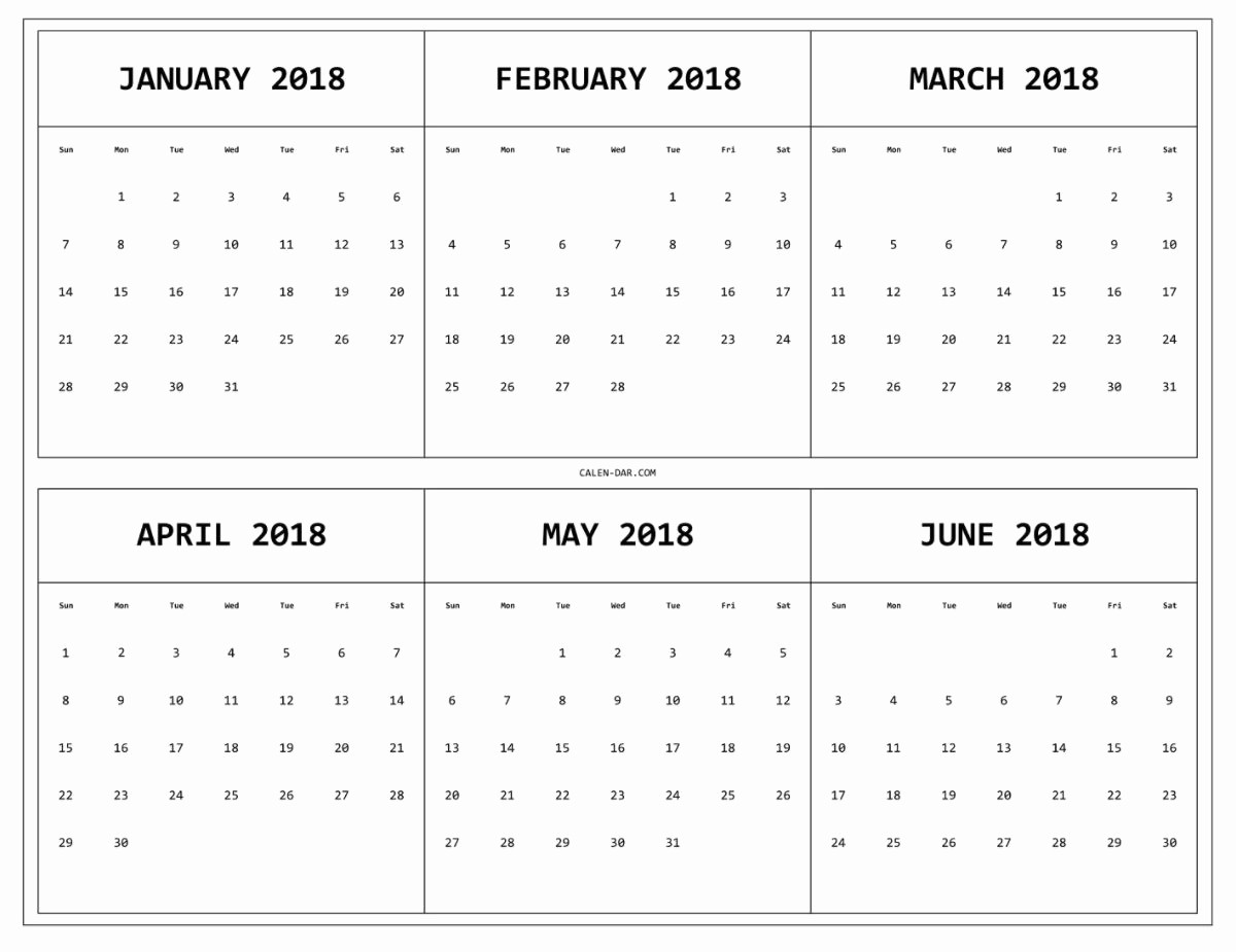 2018 Four Month Calendar Template New 6 Month E Page Printable Calendar 2018
