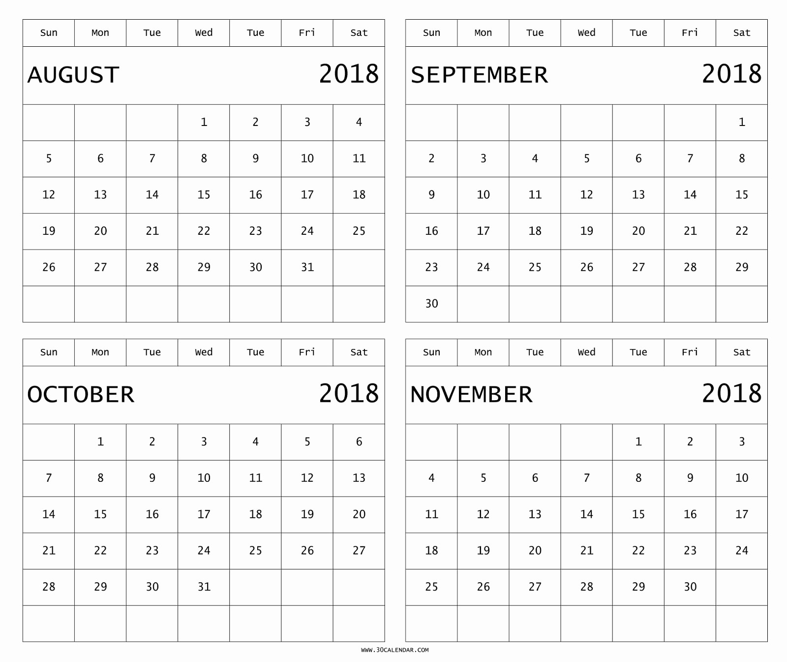 2018 Four Month Calendar Template Unique August to November 2018 Calendar Printable Four Months