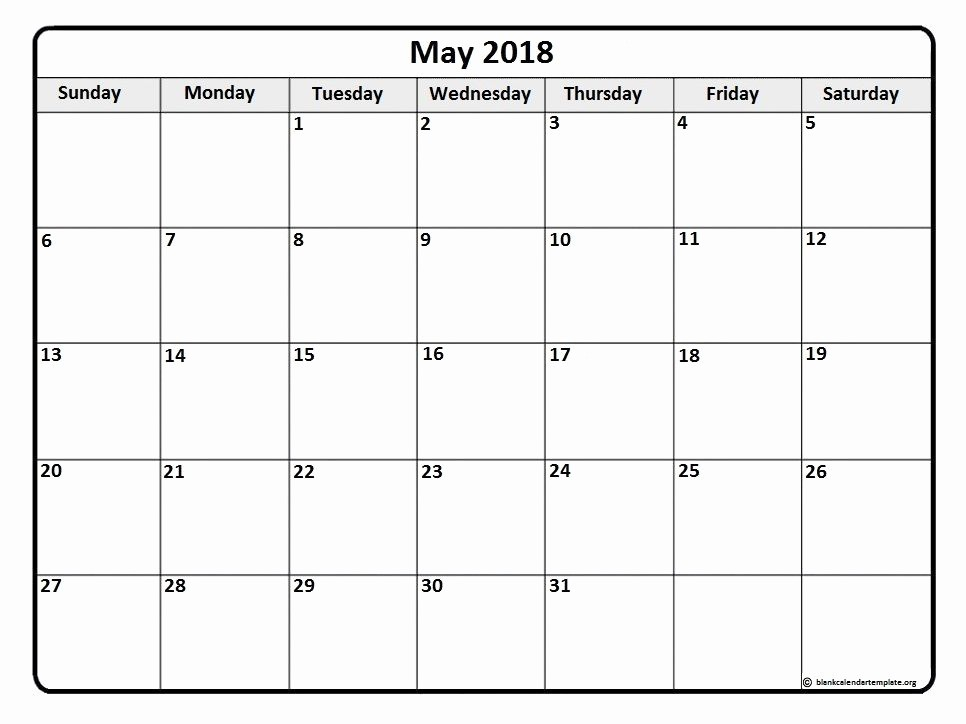 2018 Four Month Calendar Template Unique May 2018 Monthly Calendar Template