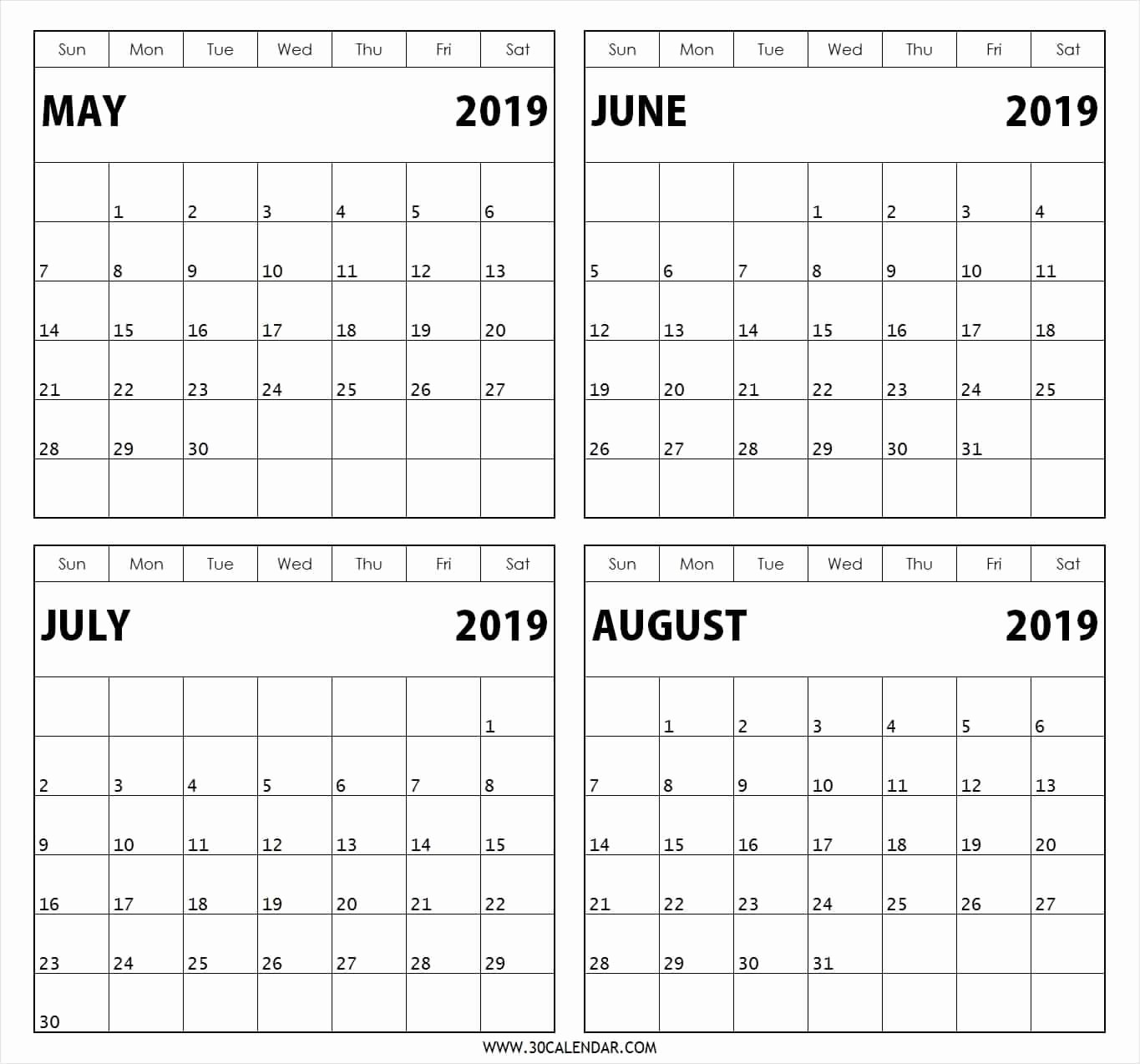 2018 Four Month Calendar Template Unique Template June July August 2019