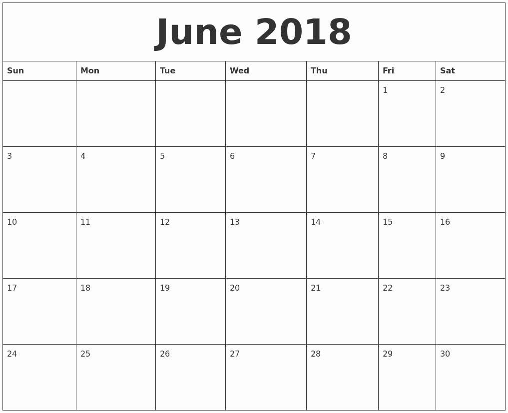 2018 Month by Month Calendar Beautiful June 2018 Calendar Month