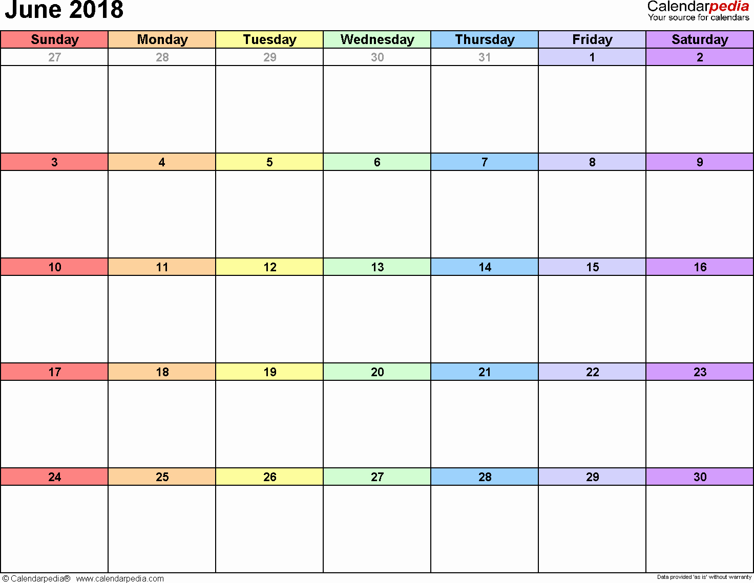 2018 Month by Month Calendar Beautiful June 2018 Calendar Word
