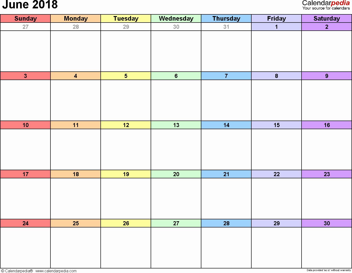 2018 Month by Month Calendar Beautiful June 2018 Calendar Word