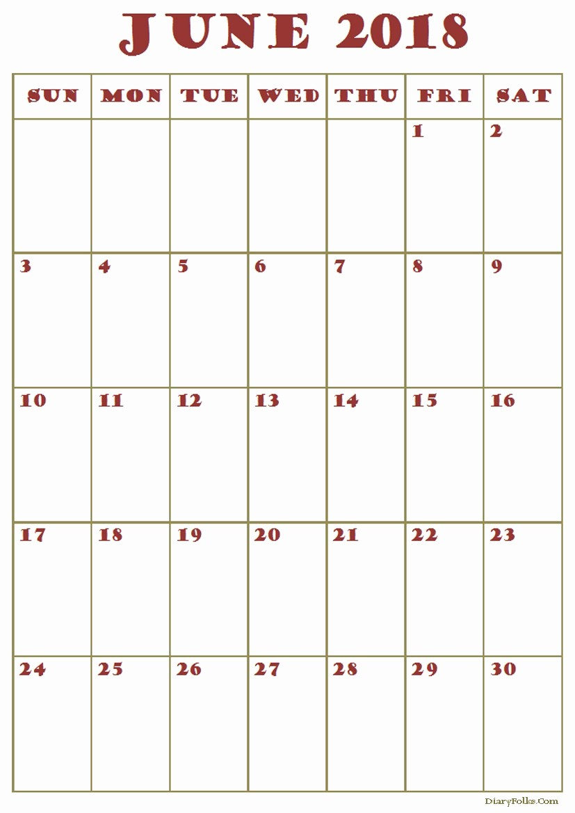 2018 Month by Month Calendar Beautiful June 2018 Monthly Calendar Printable