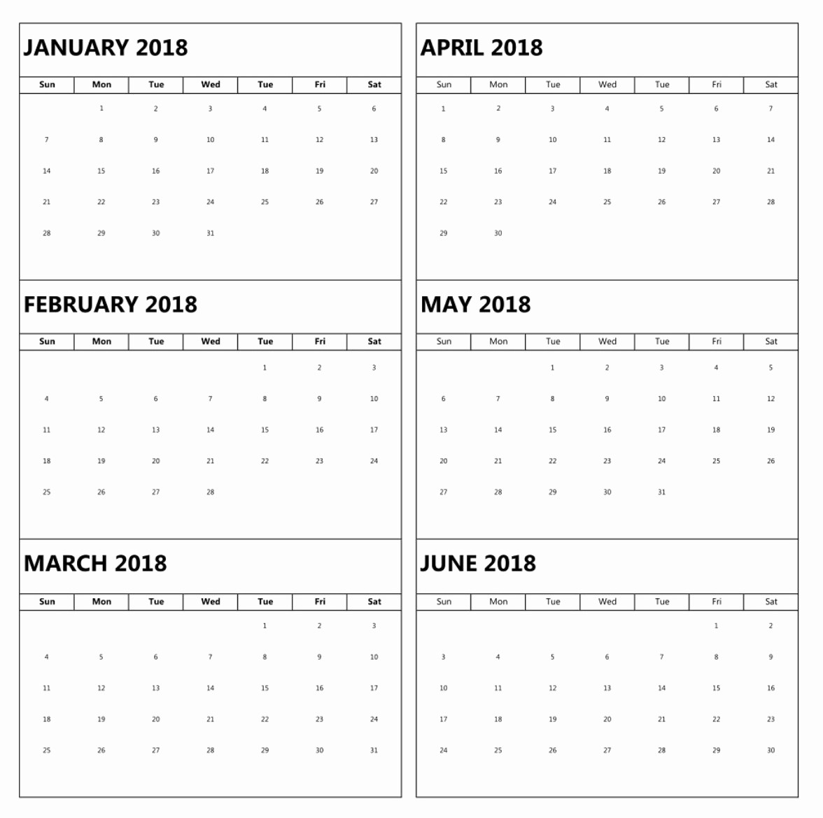 2018 Month by Month Calendar Fresh 6 Month E Page Calendar 2018