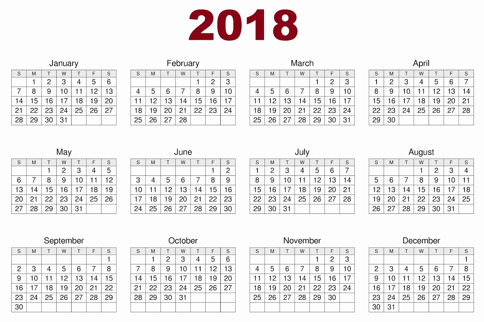 2018 Month by Month Calendar Fresh Download 12 Month Printable Calendar 2018 From January to
