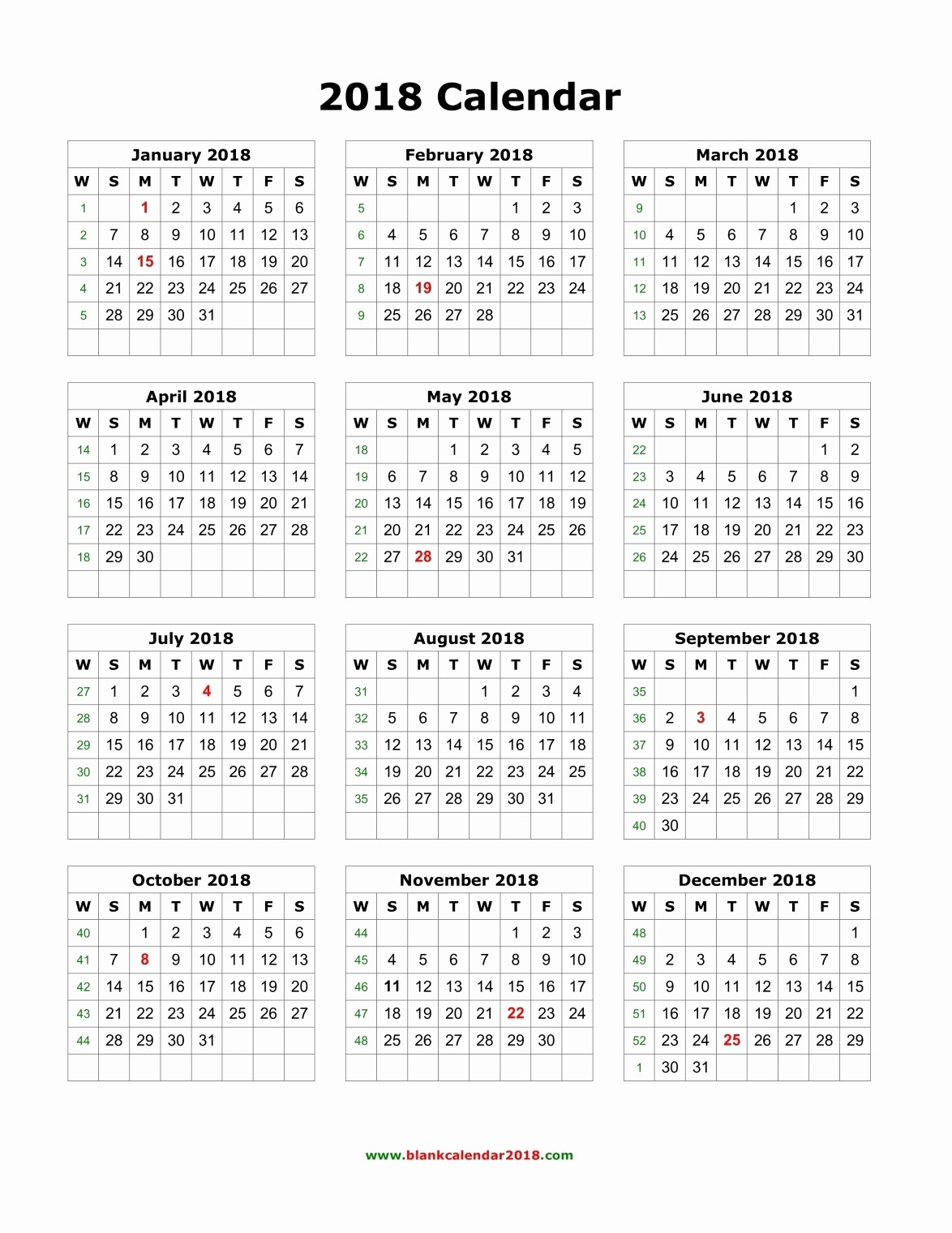 2018 Month by Month Calendar Inspirational Blank Monthly Calendar 2018