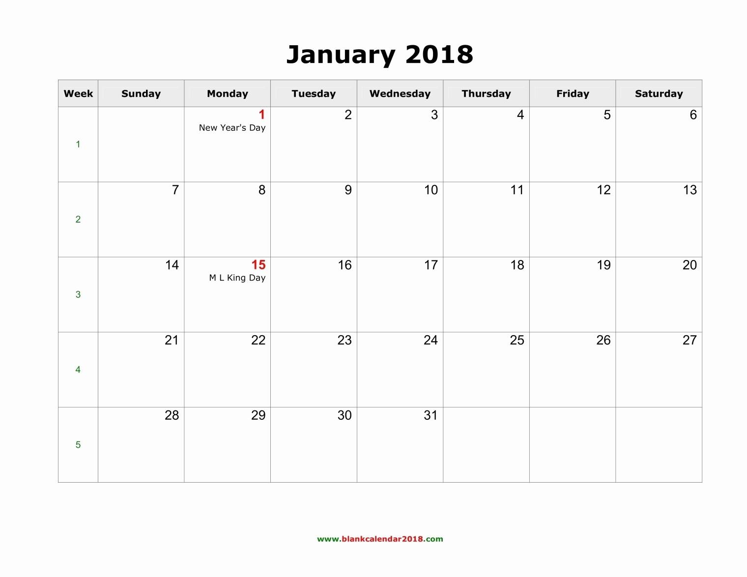 2018 Month by Month Calendar Inspirational Blank Monthly Calendar 2018