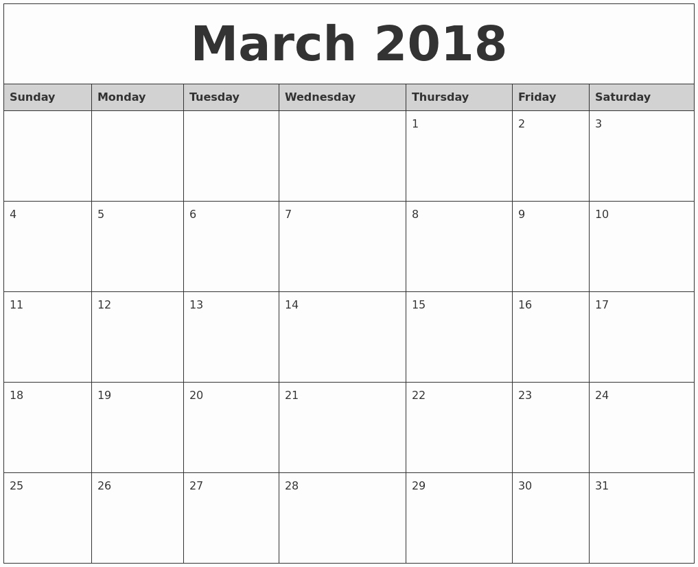 2018 Month by Month Calendar New March 2018 Monthly Calendar Printable