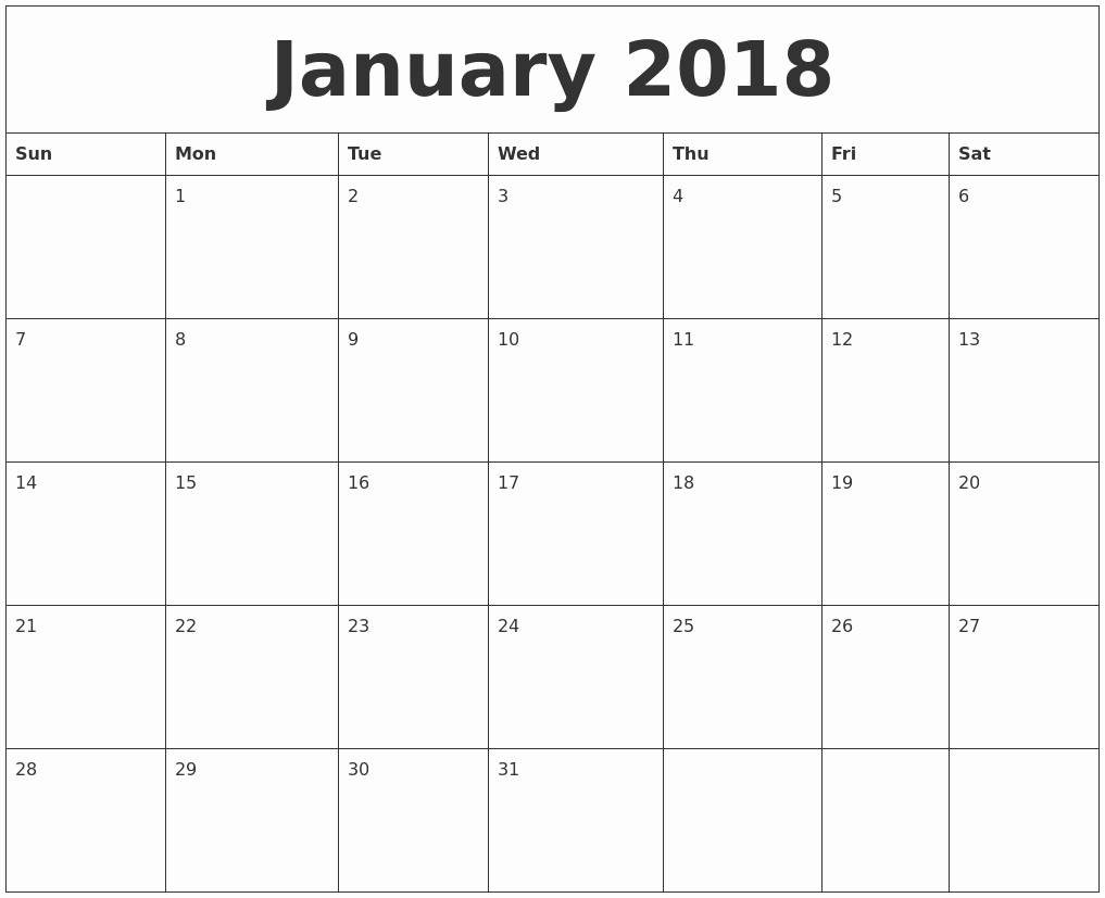 2018 Month by Month Calendar Unique January 2018 Free Printable Monthly Calendar
