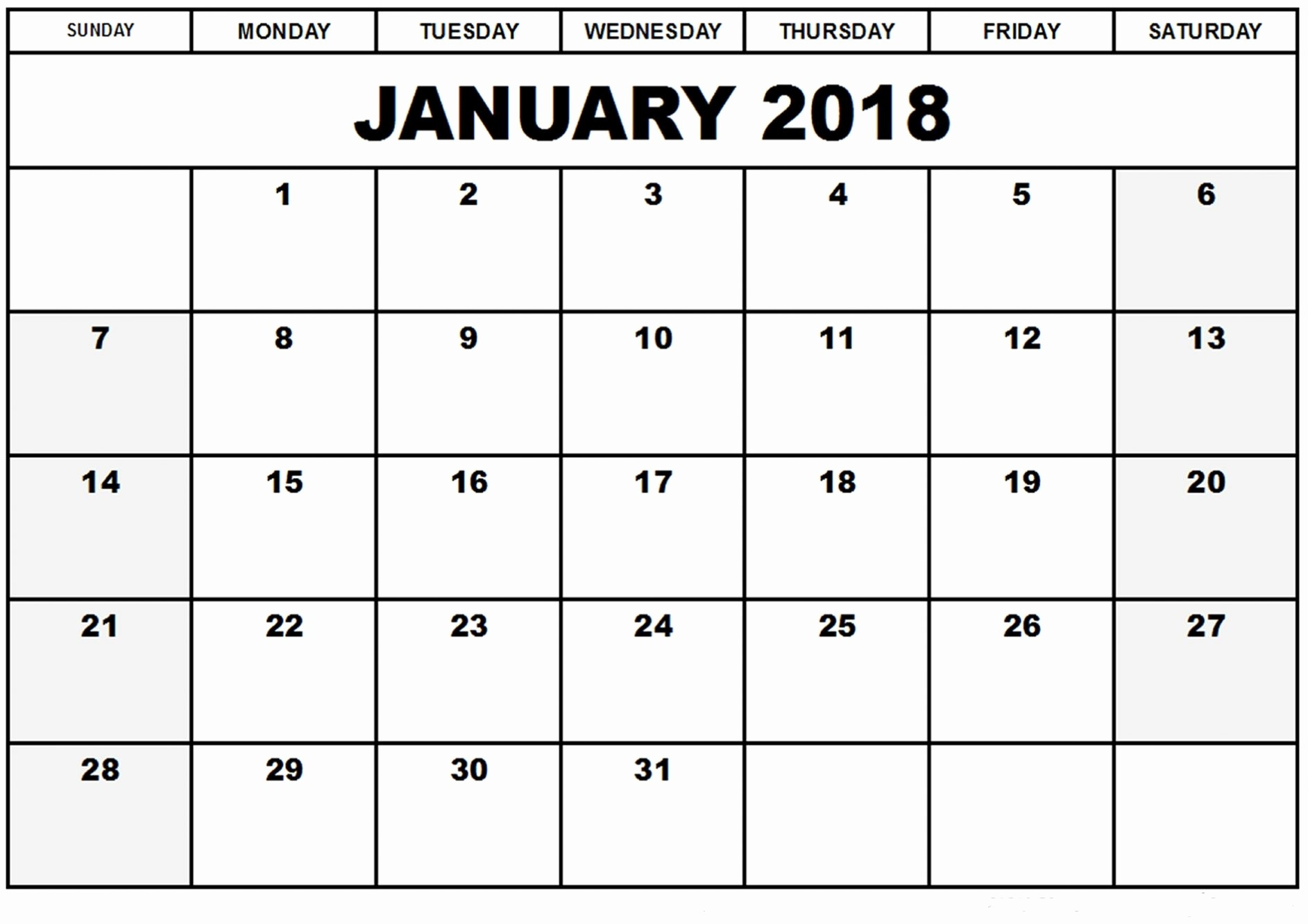 2018 Month by Month Calendar Unique January 2018 Monthly Calendar Printable