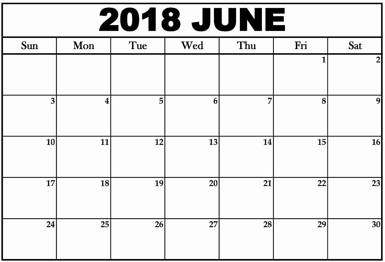 2018 Month by Month Calendar Unique June 2018 Monthly Calendar Printable