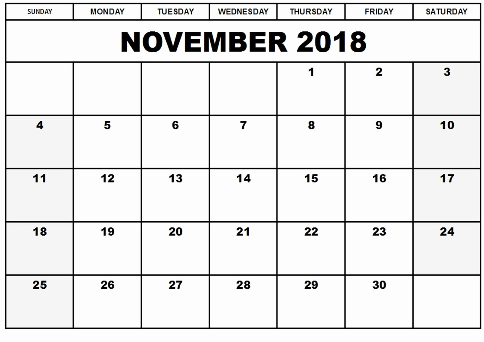 2018 Month by Month Calendar Unique November 2018 Calendar Template