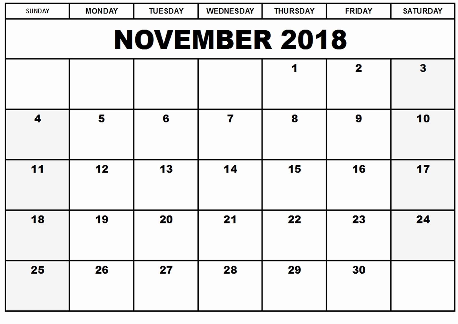 2018 Month by Month Calendar Unique November 2018 Calendar Template