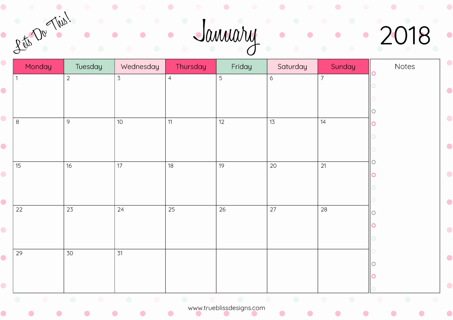 2018 Month by Month Calendar Unique Printable Monthly Calendar 2018 Printable Pages