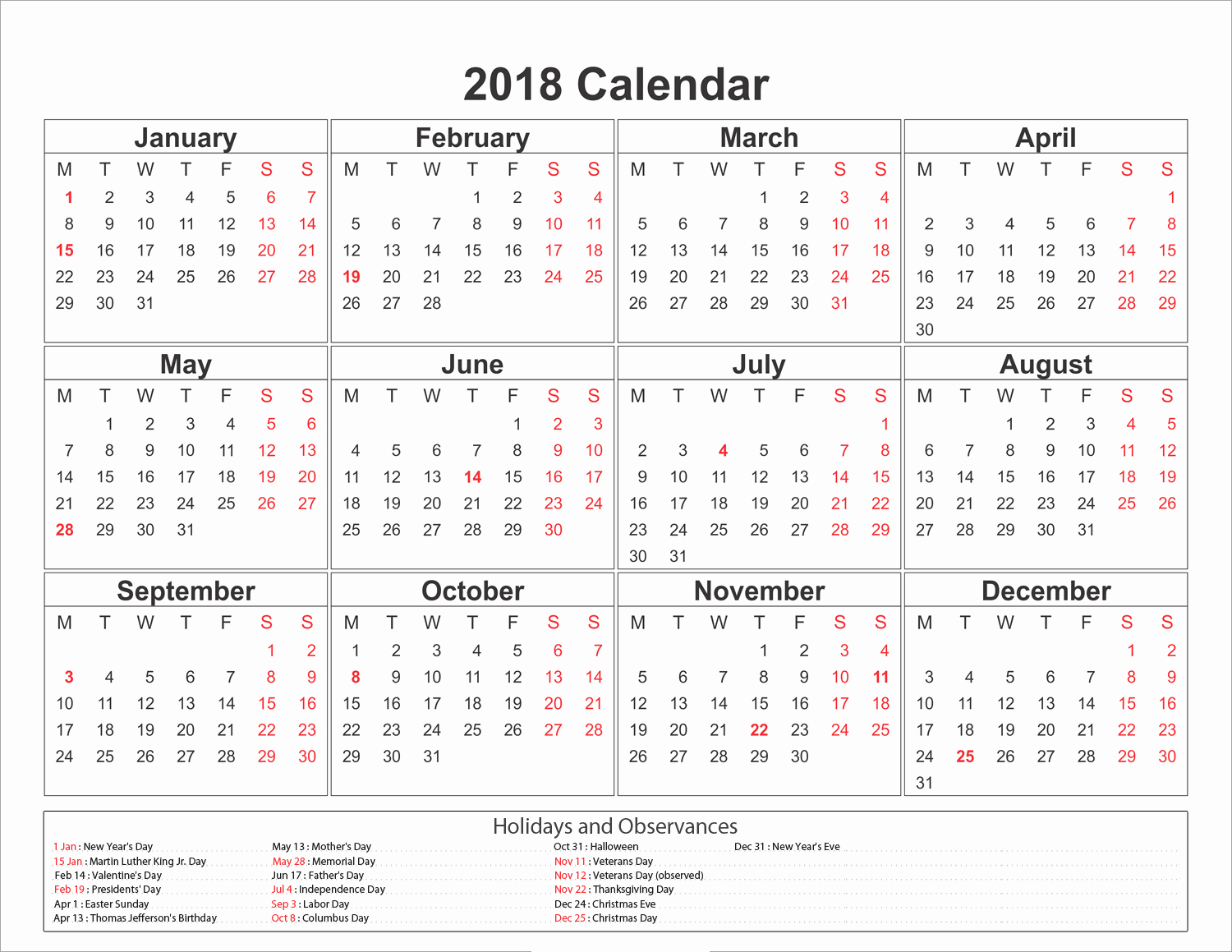 2018 Year Calendar One Page Awesome Printable Calendar 2018