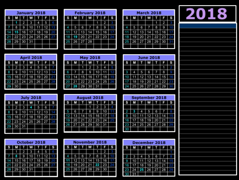 2018 Year Calendar One Page Beautiful 2018 Calendar Excel Template E Page Monthly Yearly