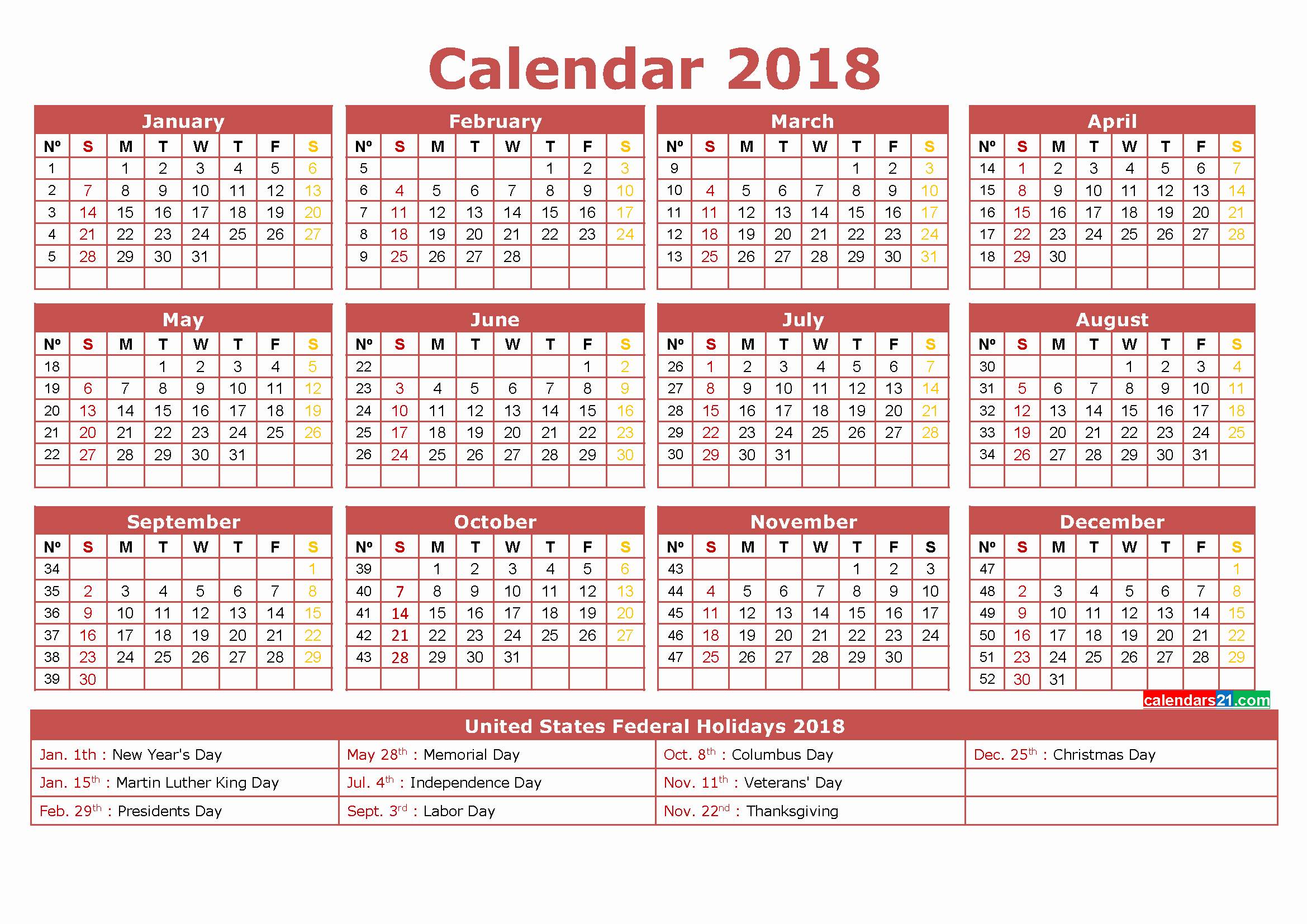 2018 Year Calendar One Page Beautiful 2018 Calendar Printable 12 Month In E Page Calendar