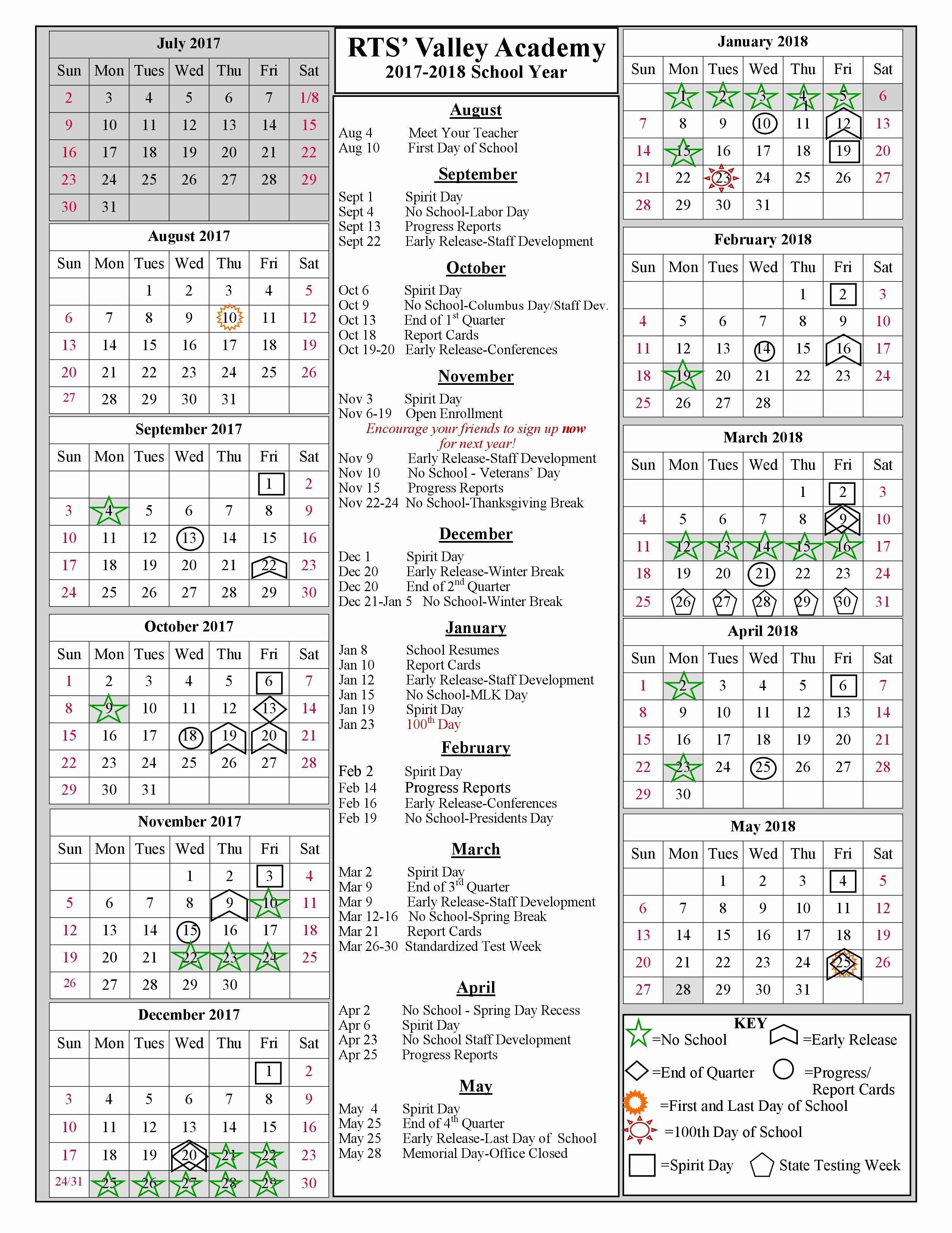 2018 Year Calendar One Page Best Of School Year Calendar 2017 2018