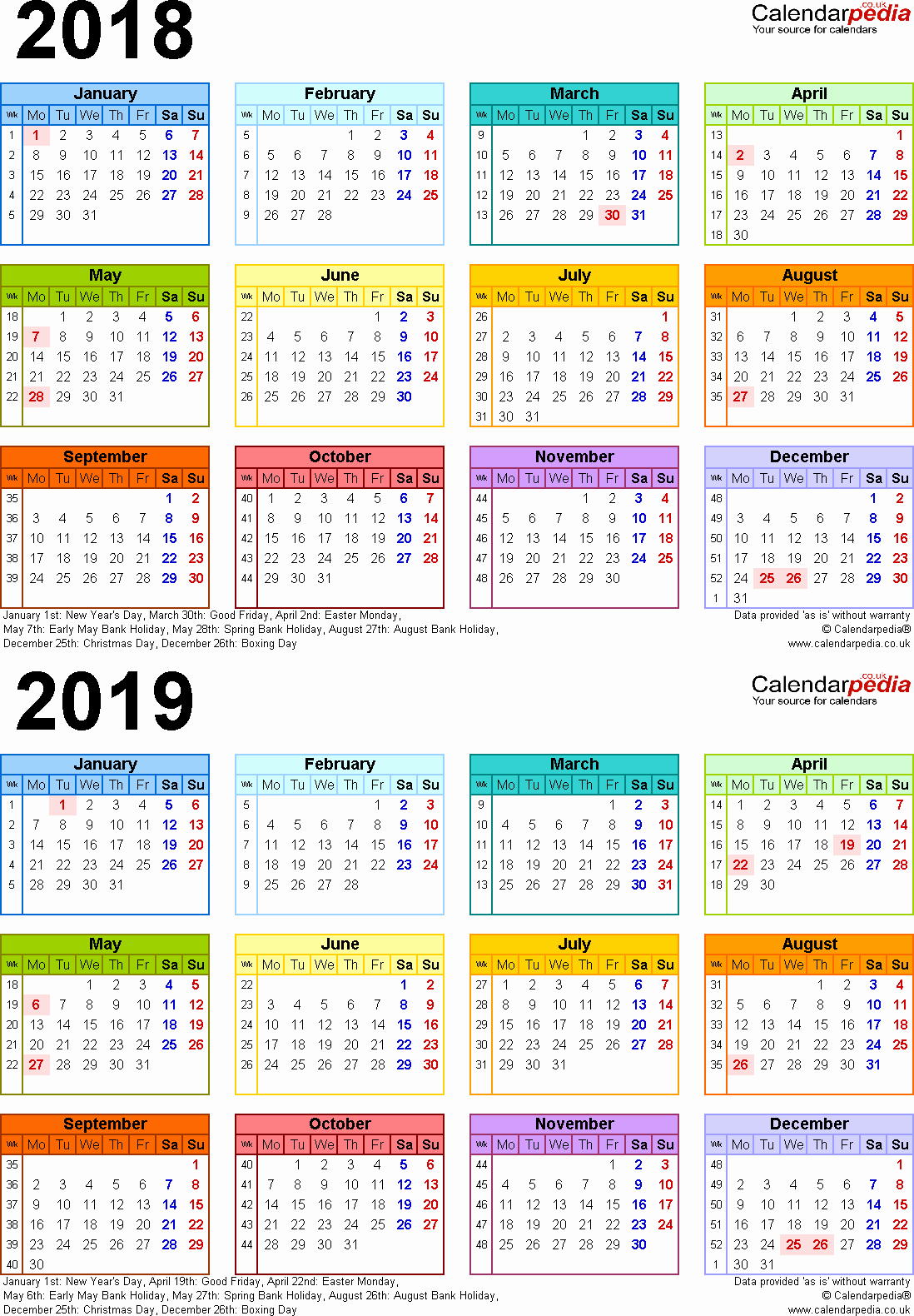2018 Year Calendar One Page Best Of Two Year Calendars for 2018 & 2019 Uk for Excel