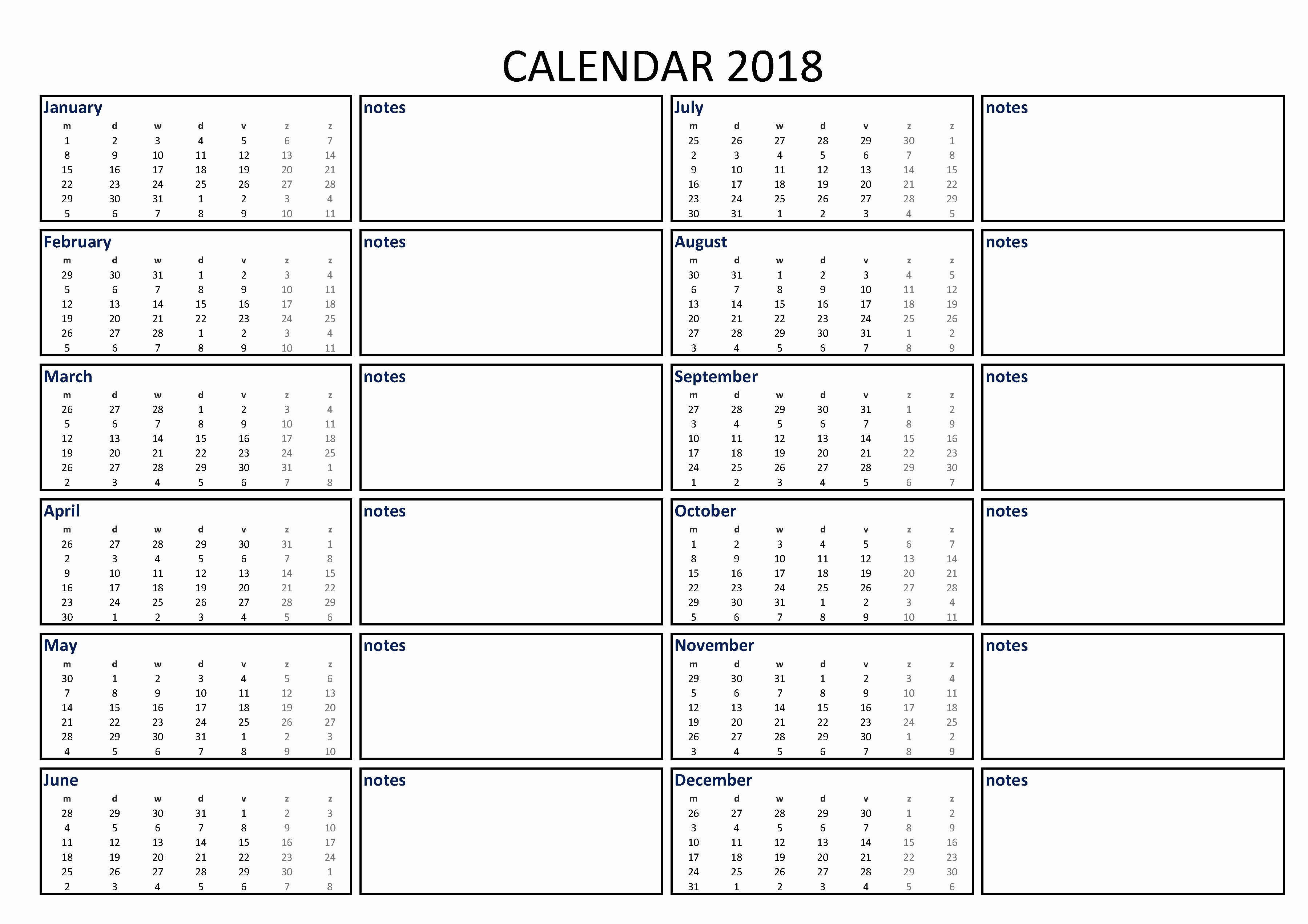 2018 Year Calendar One Page Elegant 2018 Calendar Excel Template