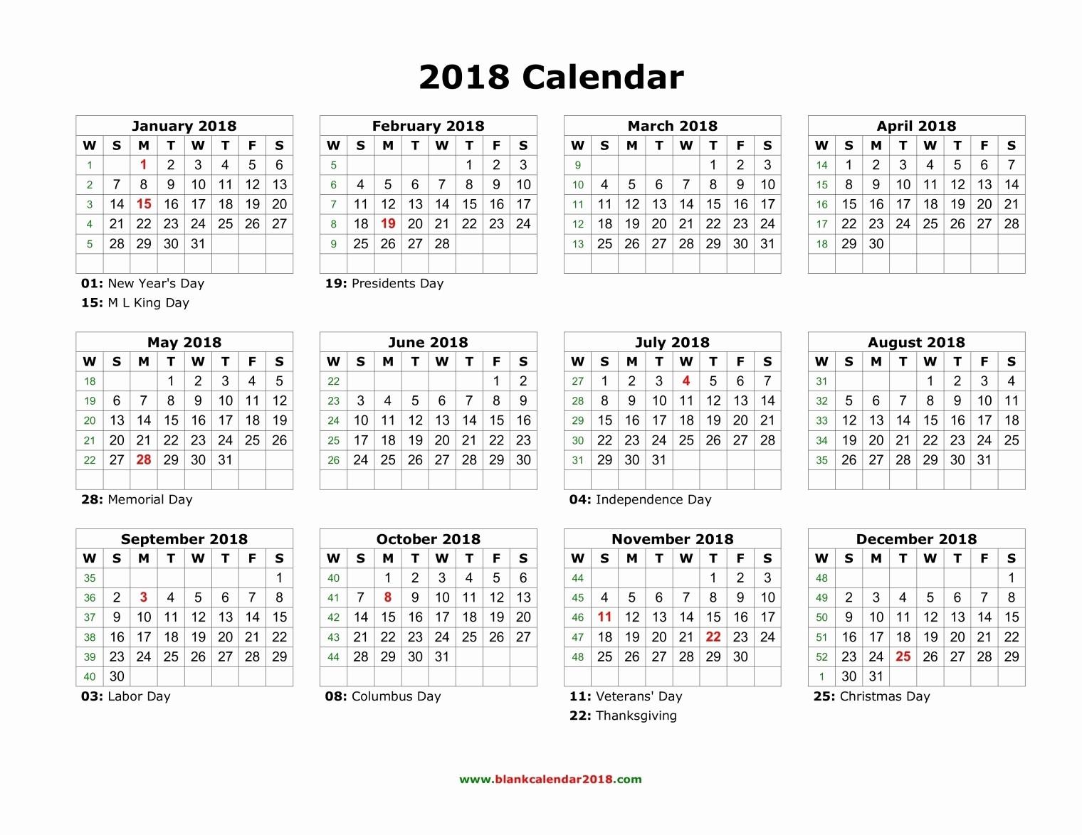 2018 Year Calendar One Page Elegant Blank Holidays Calendar 2018 Landscape