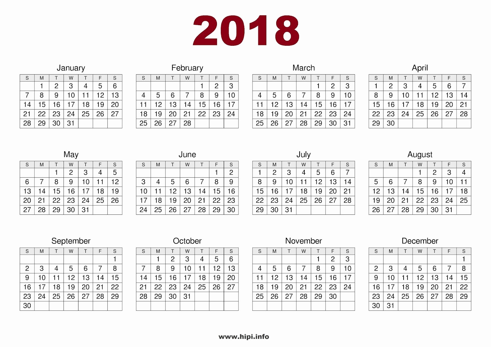 2018 Year Calendar One Page Elegant Twitter Headers Covers Wallpapers Calendars