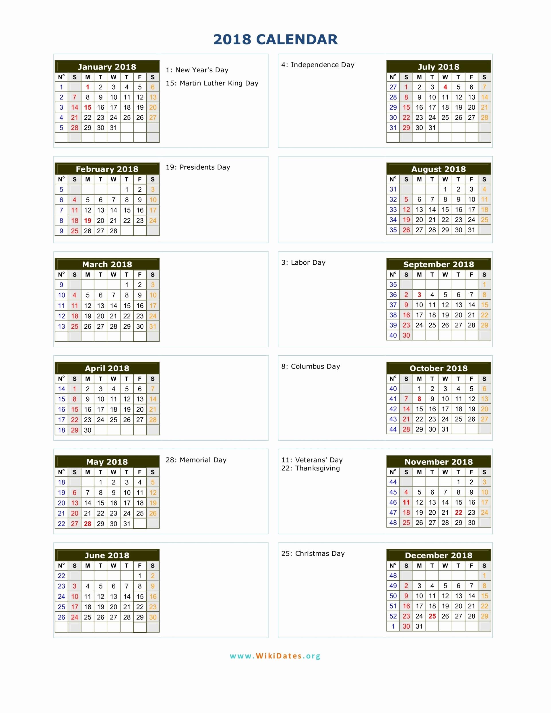 2018 Year Calendar One Page Fresh 2018 Calendar