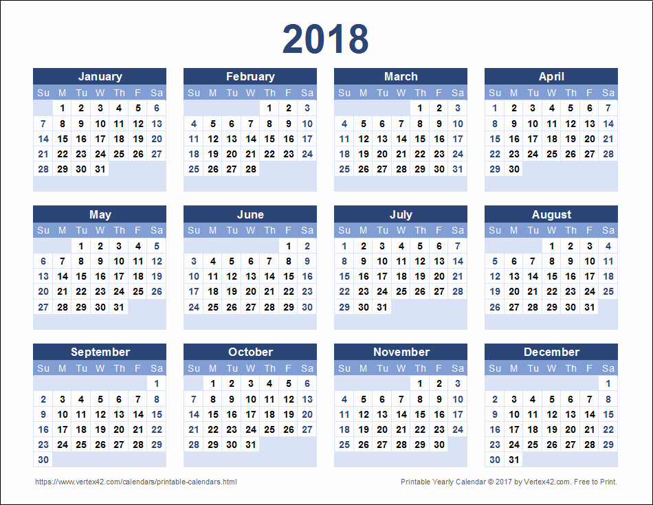 2018 Year Calendar One Page Fresh 2018 Calendar