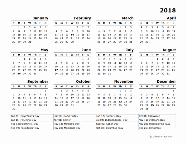 2018 Year Calendar One Page Fresh 2018 Year Calendar Template with Us Holidays Free