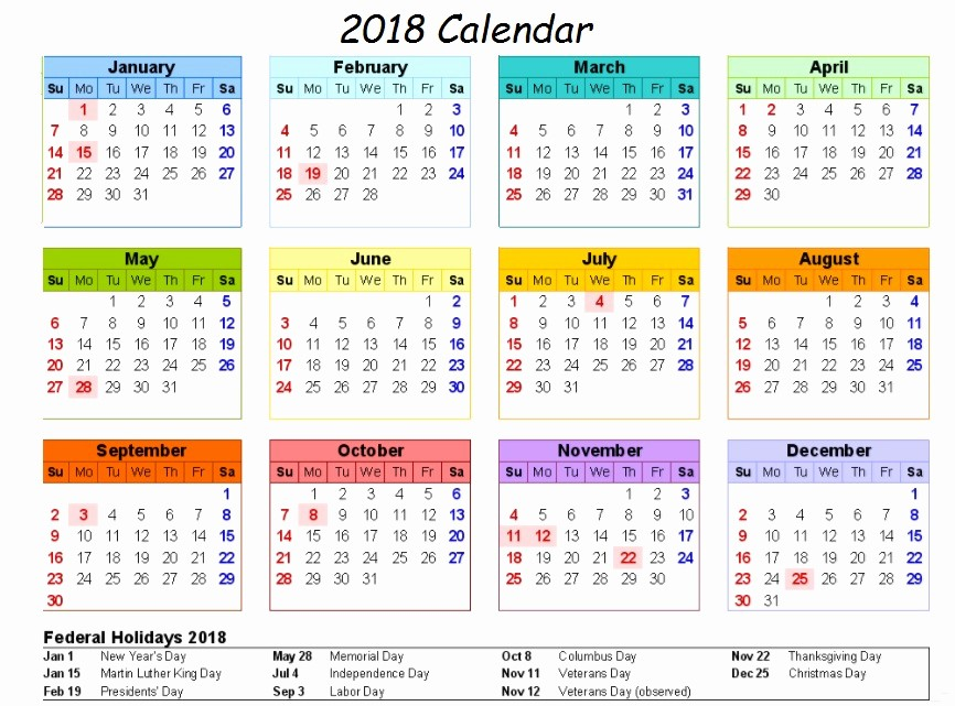 2018 Year Calendar One Page Fresh Calendar 2018 Printable E Page