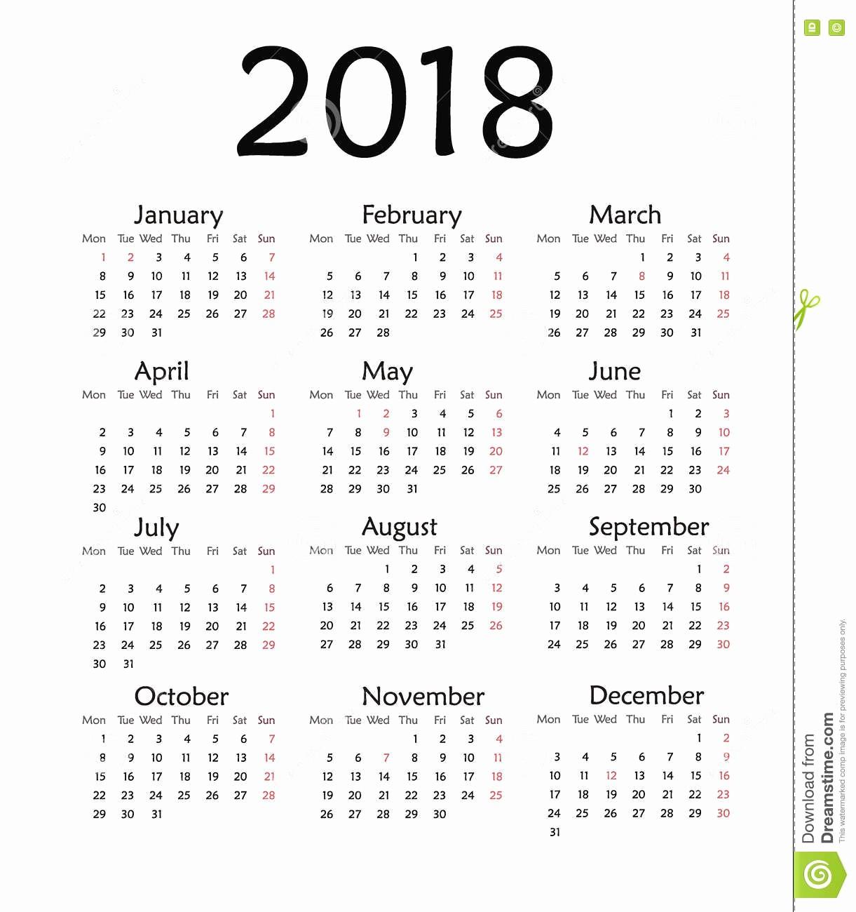 2018 Year Calendar One Page Fresh Calendar for 2018 Year – Printable Calendar 2018 2019