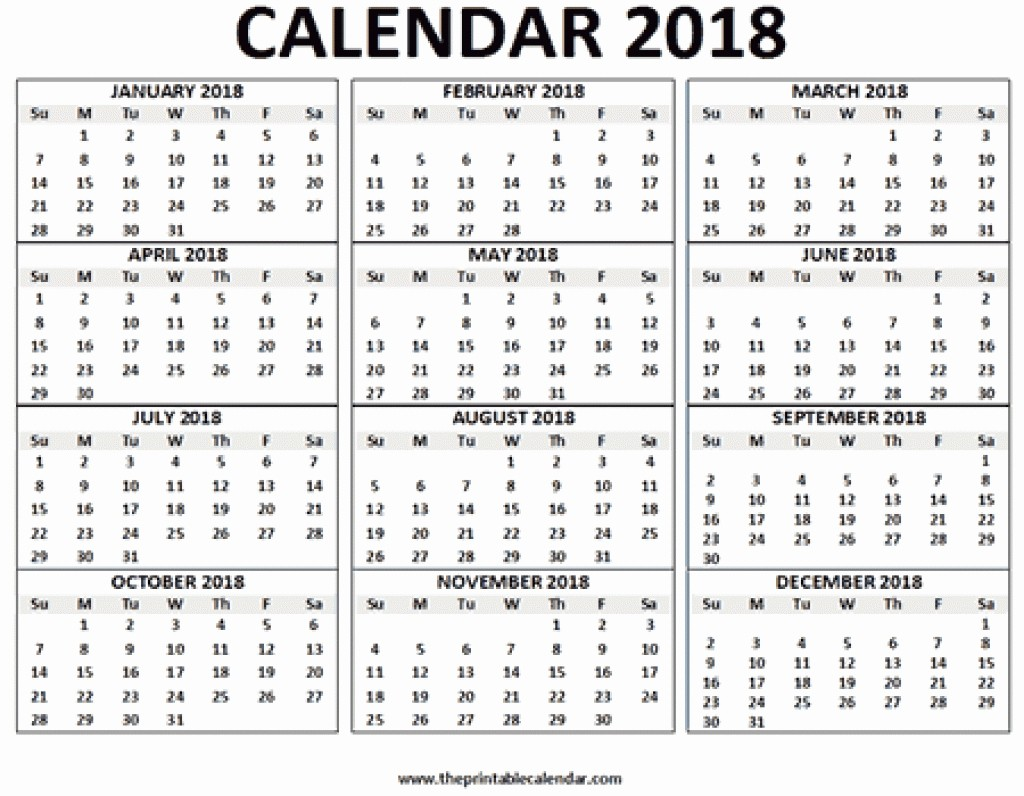 2018 Year Calendar One Page Inspirational 12 Month Calendar E Page