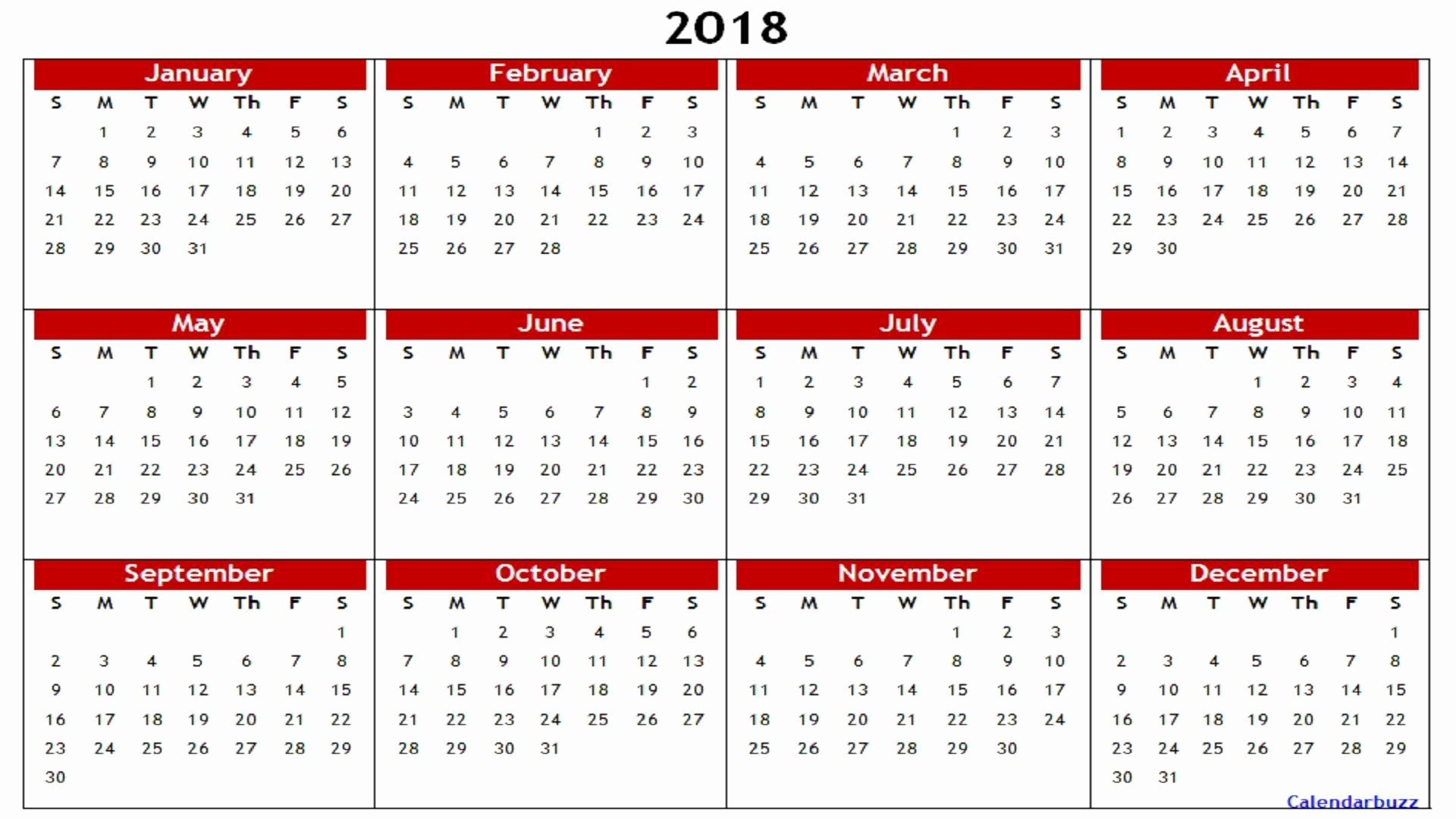 2018 Year Calendar One Page Inspirational 2018 Yearly Calendar Printable Templates Word Excel