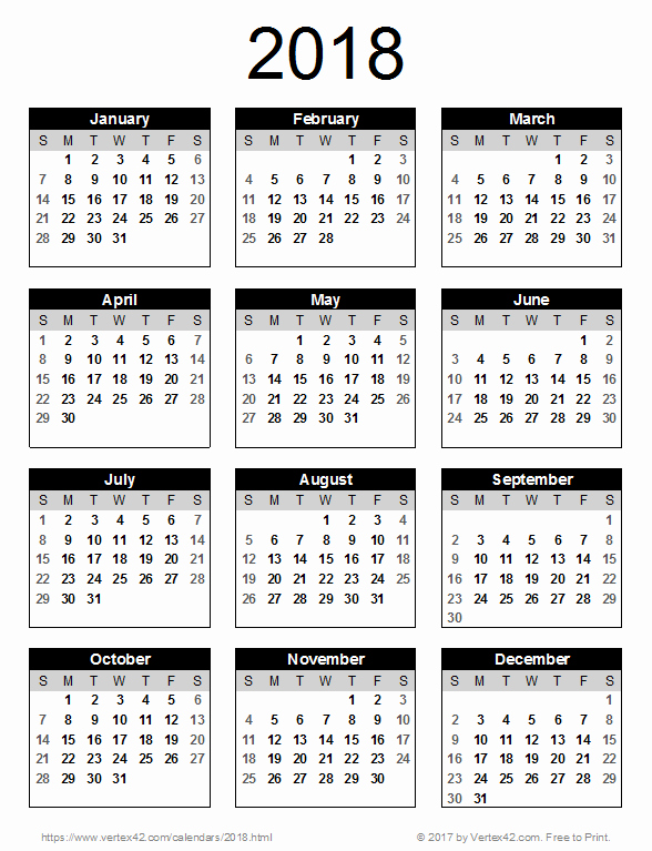 2018 Year Calendar One Page Lovely 2018 Calendar Templates and Pdfs