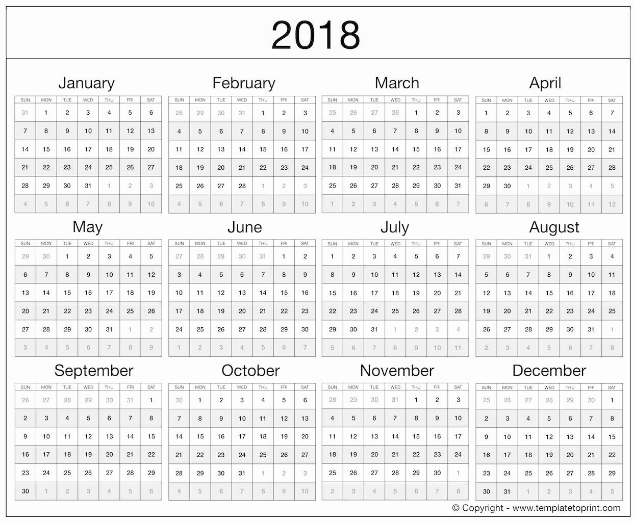 2018 Year Calendar One Page Lovely 2018 Excel Printable Calendars Templates
