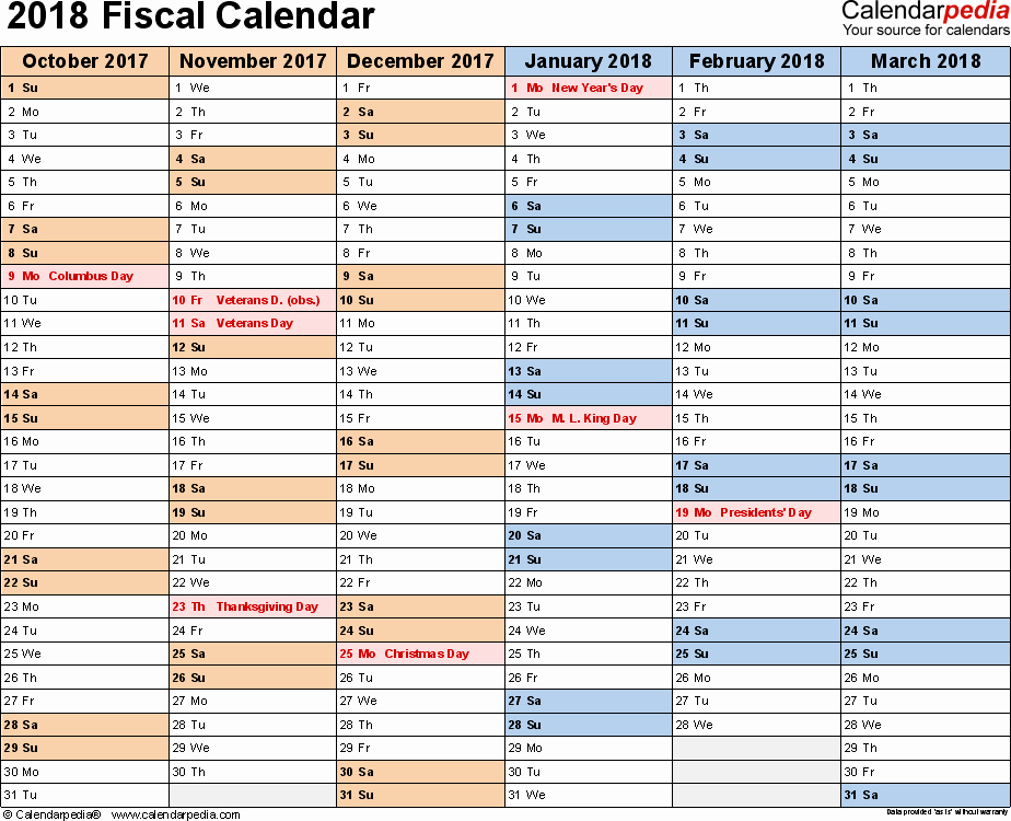 2018 Year Calendar One Page Lovely Fiscal Calendars 2018 as Free Printable Pdf Templates