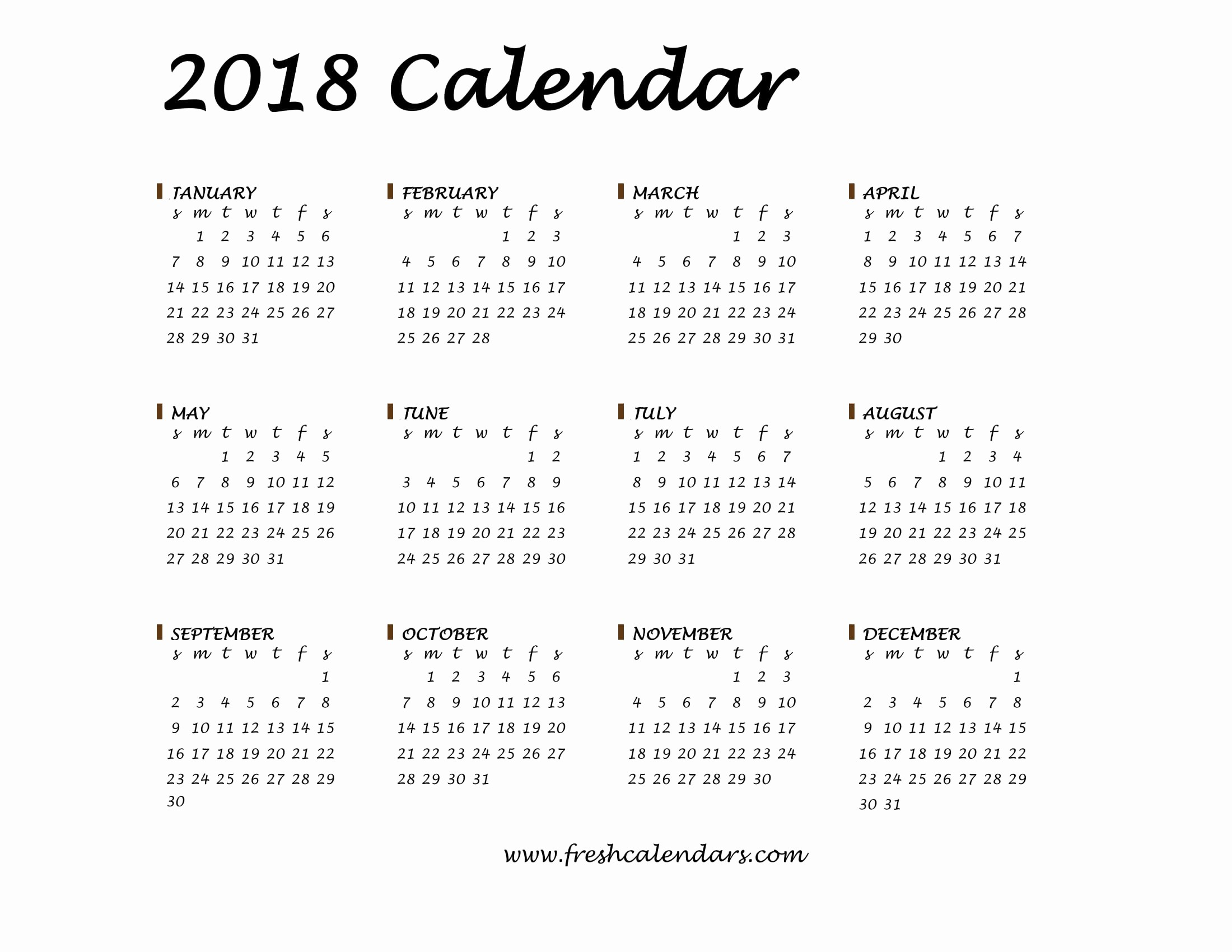 2018 Year Calendar One Page New 20 Printable 2018 Calendar Templates