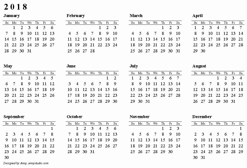 2018 Year Calendar One Page New 2018 Calendar Pdf