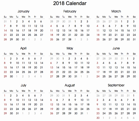 2018 Year Calendar One Page New Download 12 Month Printable Calendar 2018 From January to