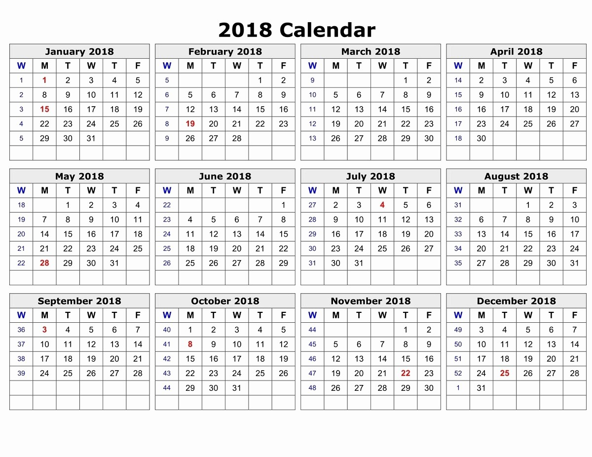 2018 Year Calendar One Page New Yearly Calendar 2018 Printable