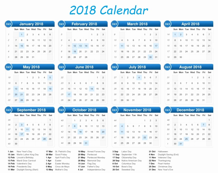 2018 Year Calendar One Page Unique Calendar 2018 Printable E Page