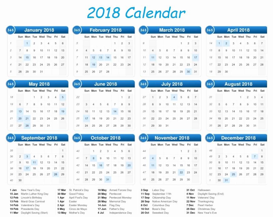 2018 Year Calendar One Page Unique Calendar 2018 Printable E Page