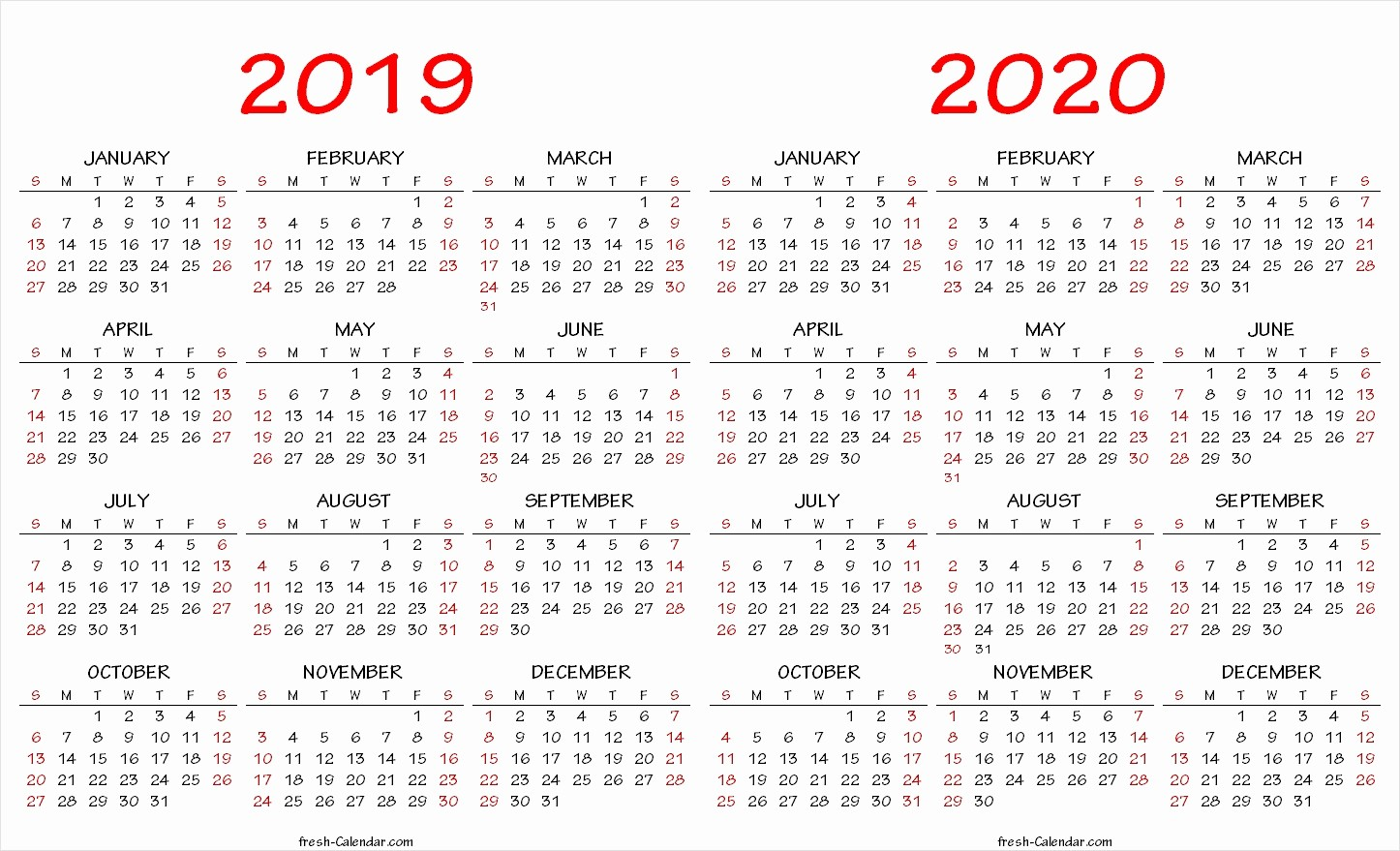 2019 and 2020 Calendar Printable Awesome 2019 2020 2021 3 Year Calendar Swifte