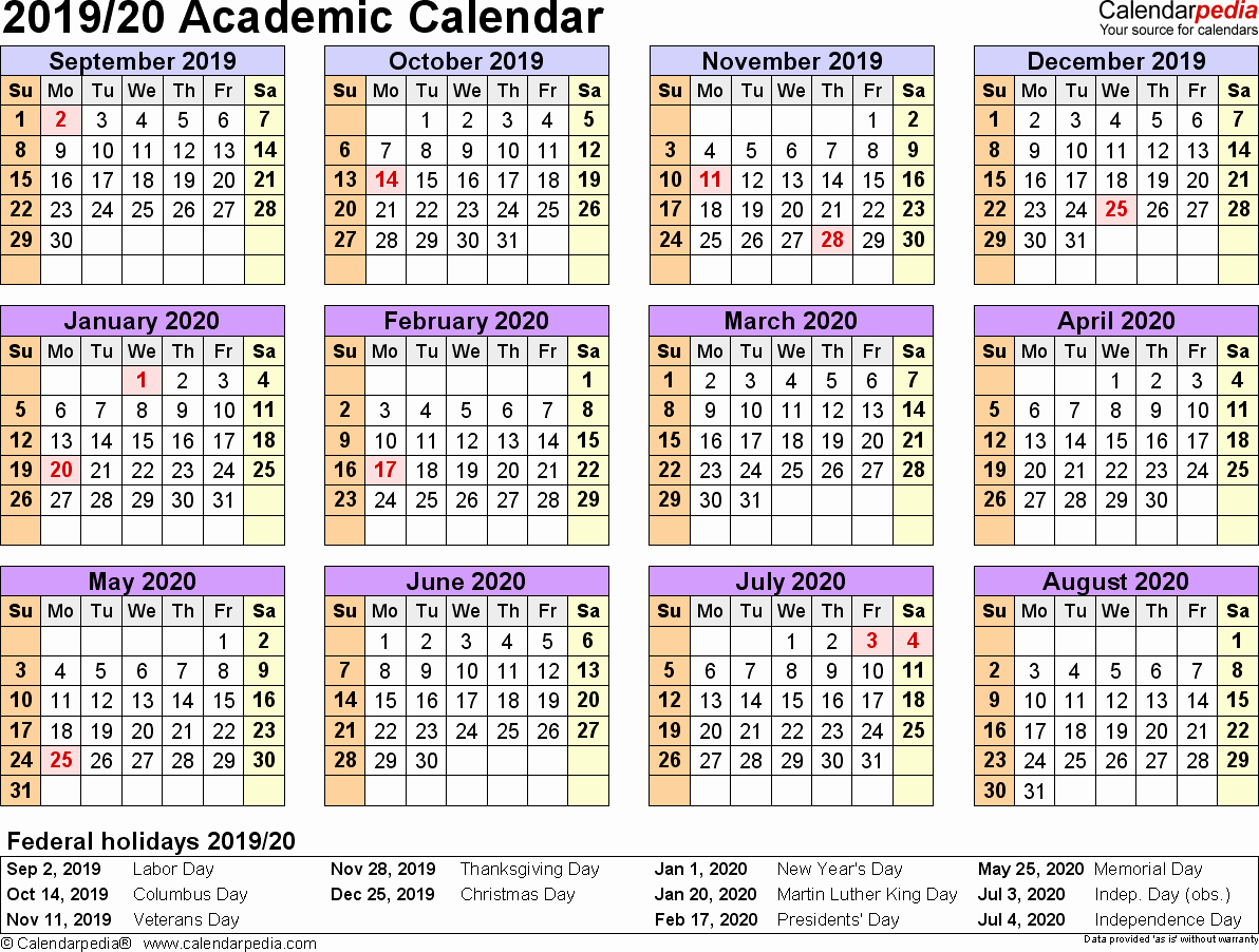 2019 and 2020 Calendar Printable Awesome Academic Calendars 2019 2020 Free Printable Excel Templates