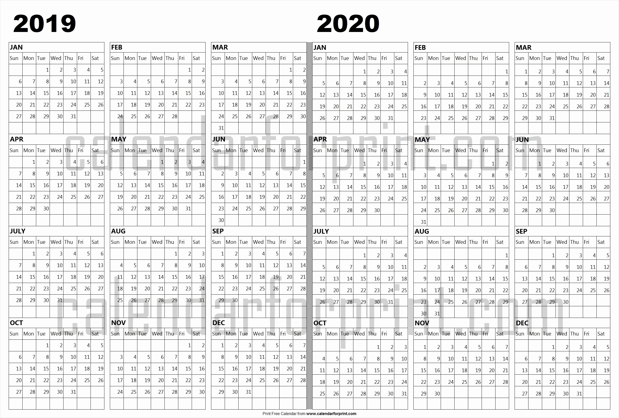 2019 and 2020 Calendar Printable Awesome Calendar 2019 2020 Template