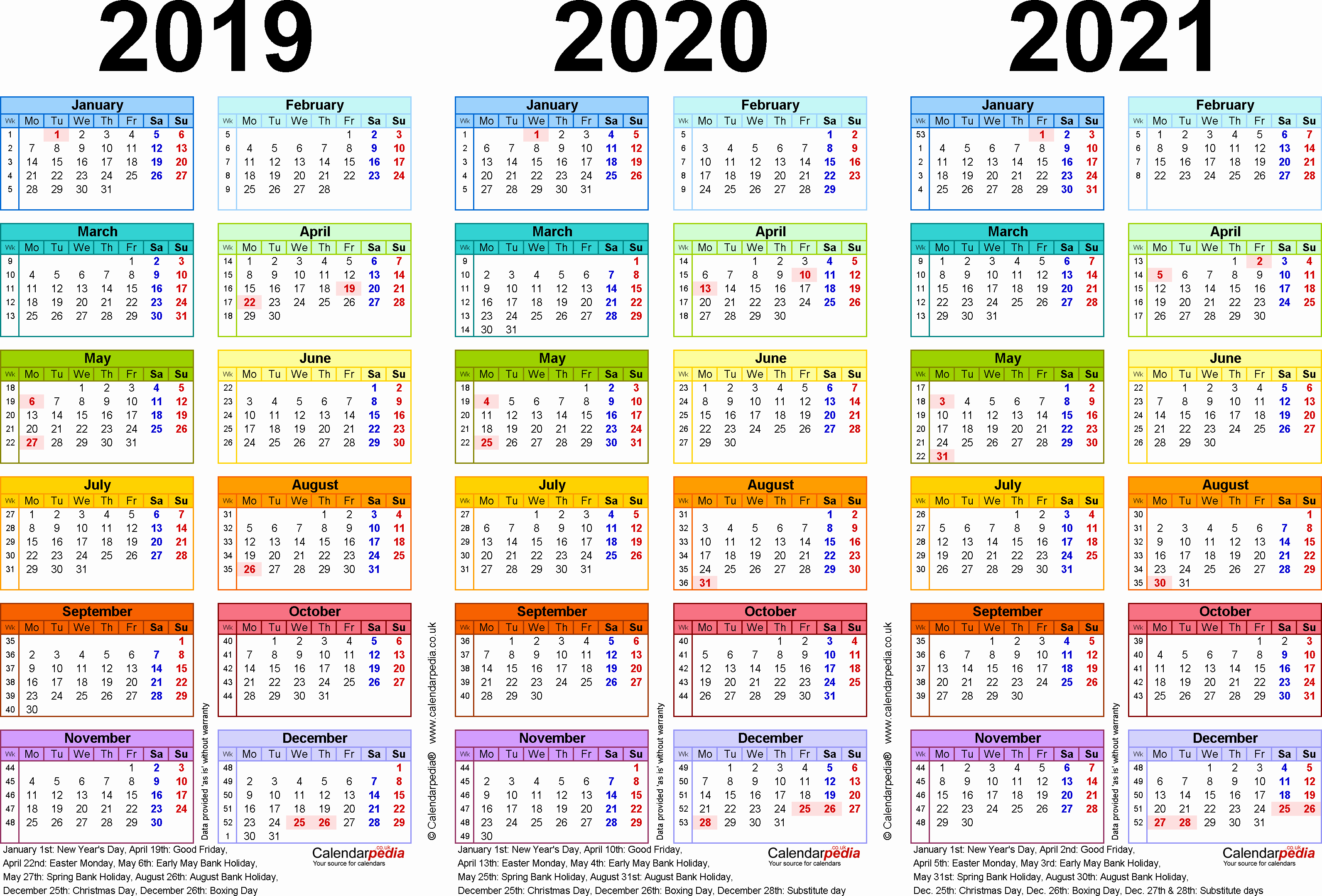 2019 and 2020 Calendar Printable Awesome Three Year Calendars for 2019 2020 & 2021 Uk for Excel