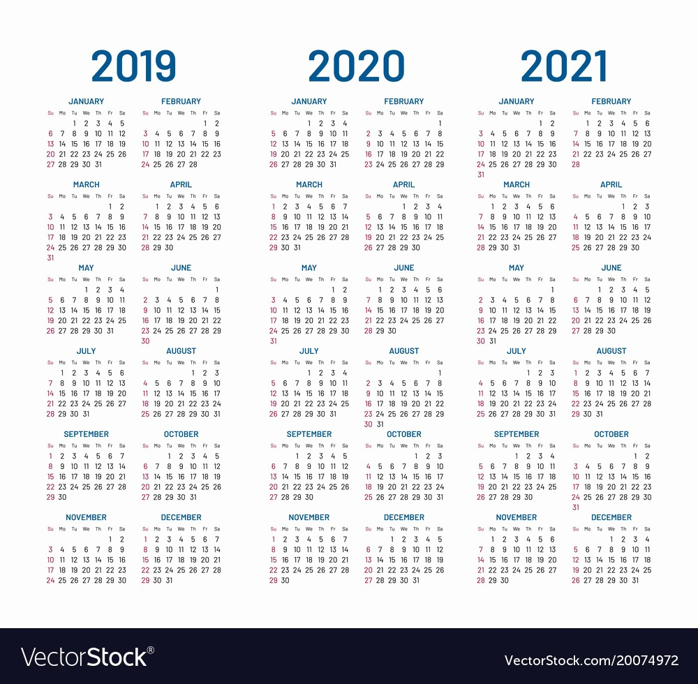 2019 and 2020 Calendar Printable Awesome Year 2019 2020 2021 Calendar Royalty Free Vector Image